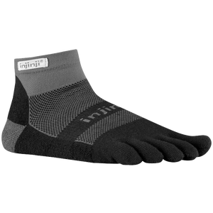 Injinji Midweight Mini-Crew Toe Socks - Black/Grey