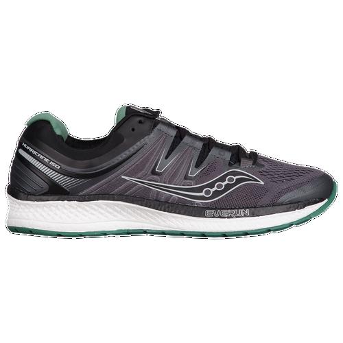 Saucony Hurricane ISO 4 - Men's Running Shoes - Black/Grey/Green 204111