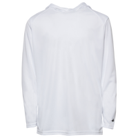Badger Sportswear B-Core L/S Hood - Boys' Grade School - White / White