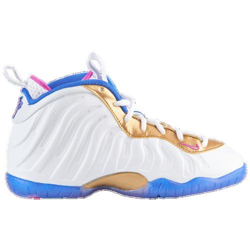 11ae1063c58 Nike Little Posite One - Boys  Preschool - Basketball - Shoes -  White Fuchsia Blast Racer Blue Met Gold