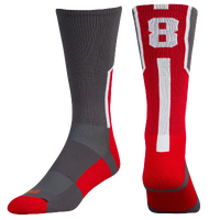 Twin City Player ID Custom Number Crew Socks - Men's - Grey / Red