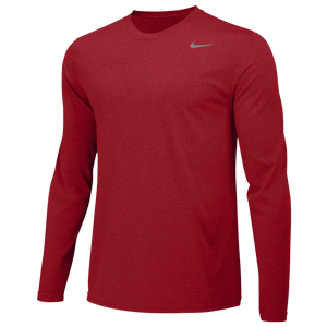 Nike Team Legend Long Sleeve Poly Top - Men's - University Red/Cool Grey