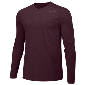 Nike Team Legend Long Sleeve Poly Top - Men's - Deep Maroon/Cool Grey