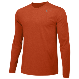 Nike Team Legend Long Sleeve Poly Top - Men's - University Orange/Cool Grey