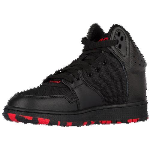 Jordan 1 Flight 4 - Boys' Grade School - Basketball - Shoes - Black/University  Red/Black