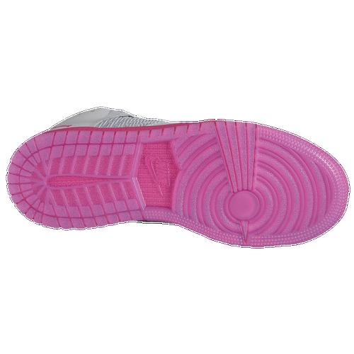 Sweet Jordan 1 Flight 4 Girls' Preschool Shoes Wolf Grey/Vivid Pink