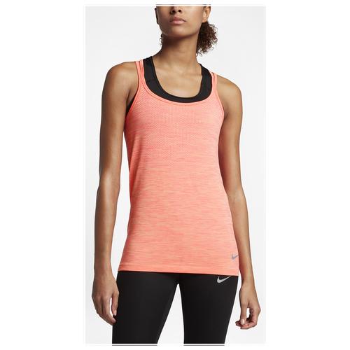 Nike Dri-FIT Knit Tank - Women's Running - Sunset Glow/Racer Pink 31496832