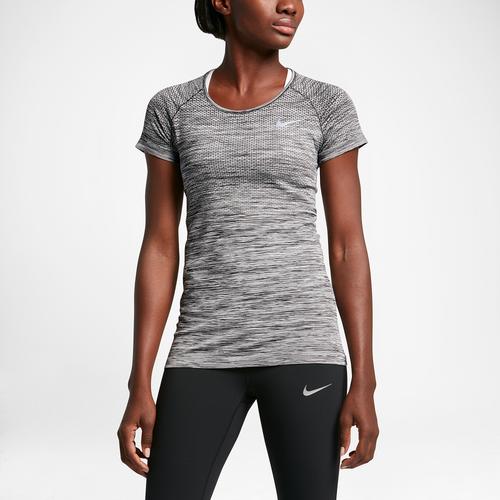 Nike Dri-FIT Knit Short Sleeve T-Shirt - Women's - Running - Clothing -  Black/Heather/Reflective Silver