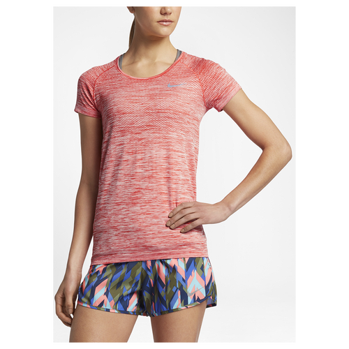 Nike Dri-FIT Knit Short Sleeve T-Shirt - Women's Running - Max Orange/Heather/Reflective Silver 31498852