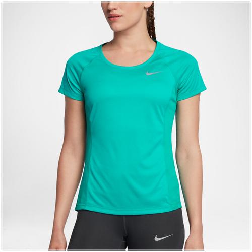 Nike Dri-FIT Miler Crew Short Sleeve T-Shirt - Women's Running - Turbo Green/Heather 31530311