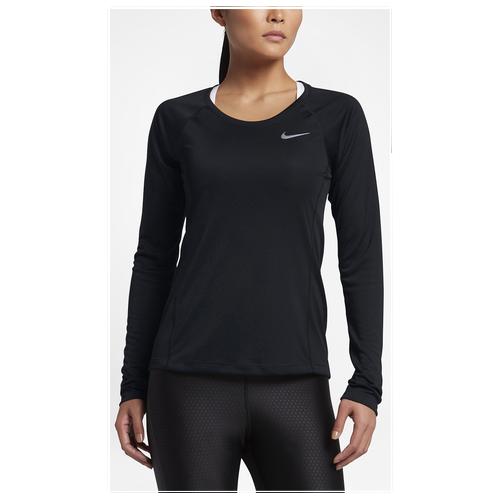 Nike Dri-FIT Miler Long Sleeve T-Shirt - Women's - Running - Clothing -  Black/Black/Reflective Silver