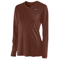 Nike Team Legend Long Sleeve T-Shirt - Women's - Brown / Grey