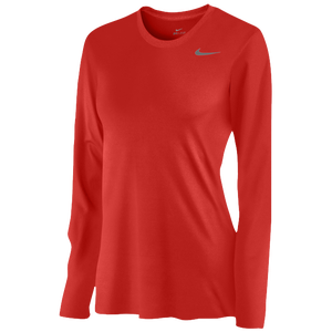 Nike Team Legend Long Sleeve T-Shirt - Women's - Scarlet/Cool Grey