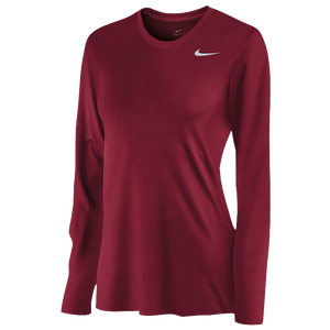 Nike Team Legend Long Sleeve T-Shirt - Women's - Crimson/Cool Grey