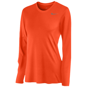 Nike Team Legend Long Sleeve T-Shirt - Women's - University Orange/Cool Grey