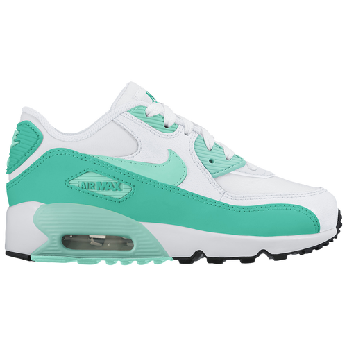 Nike Air Max 90 - Girls' Preschool - Casual - Shoes - White/Hyper  Turquoise/Clear Jade/Black