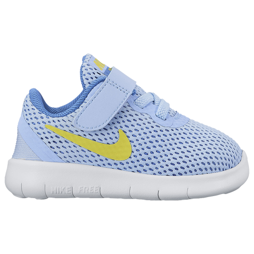 Nike Free RN - Girls' Toddler - Running - Shoes - Aluminum/Electrolime/Med  Blue/Off White
