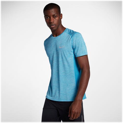 Nike Dri-FIT Cool Breathe Miler T-Shirt - Men's Running - Pure Platinum/Heather/Light Photo Blue 34241043