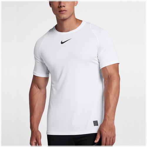 Nike Pro Fitted Short Sleeve Top - Men's Training - White/Black/Black 38093100