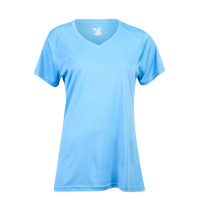 Badger Sportswear Ultimate Softlock V-Neck S/S T-Shirt - Women's - Light Blue / Light Blue