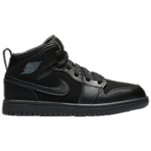 Jordan AJ 1 Mid - Boys  Preschool - Basketball - Shoes - Black Dark Grey  Black 223ffbecd