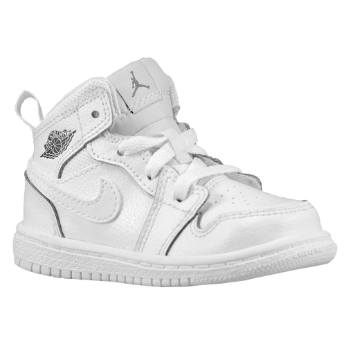 Jordan AJ 1 Mid - Boys' Toddler - Basketball - Shoes - White/Cool Grey/White
