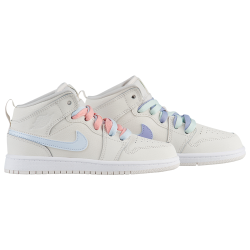 d5f793c6d9697 Jordan AJ 1 Mid - Girls' Preschool - Basketball - Shoes - White ...