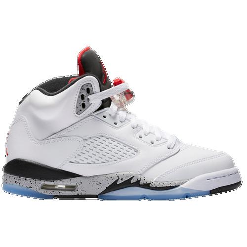 Jordan Retro 5 - Boys' Grade School - Casual - Basketball - White/University  Red/Black/Matte Silver