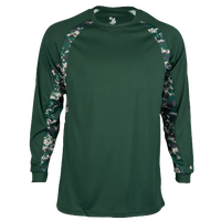 Badger Sporting Goods Digital Hook L/S T-Shirt - Men's - Dark Green / White