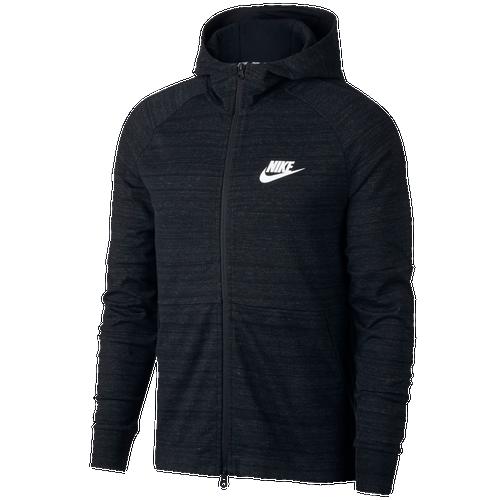 Nike Advance 15 Full Zip Knit Hoodie - Men's Casual - Black Heather/Black/White 43325010