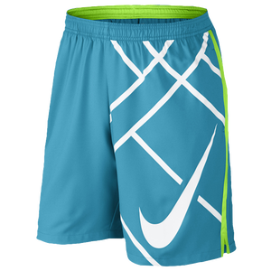 "Nike Court 9"" Tennis Shorts - Men's - Blue Lagoon/Flash Lime/White"