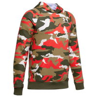Under Armour Rival Printed Hoodie - Boys' Grade School - Olive Green / Red