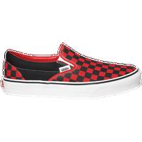 vans slip on red black checkerboard