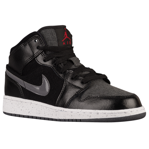 Jordan AJ 1 Mid - Boys' Grade School - Basketball - Shoes - Black/Gym Red/ Dark Grey/White