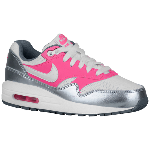 Nike Air Max 1 - Girls' Grade School - Running - Shoes - White/Pink Pow/Cool  Grey/White