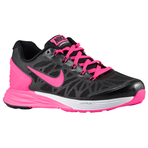 Nike Lunar Glide 6 - Girls  Grade School - Running - Shoes -  Black White Hyper Pink 8f58bacc51dc