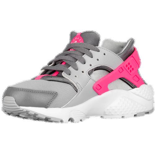 Nike Huarache Run - Girls' Grade School - Casual - Shoes - Wolf Grey/White/Cool  Grey/Hyper Pink