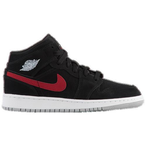 e7f337654db7 Jordan AJ 1 Mid - Boys  Grade School - Basketball - Shoes - Black Varsity  Red Varsity Royal White