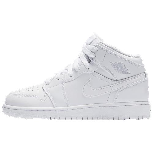 Jordan AJ 1 Mid - Boys' Grade School - Basketball - Shoes - White/Pure  Platinum