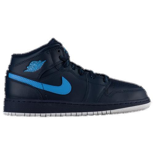 Jordan AJ 1 Mid - Boys' Grade School - Basketball - Shoes -  Obsidian/University Blue/White
