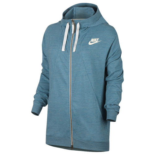 Nike Gym Classic Full Zip Hoodie - Women's Casual - Cerulean Heather/Sail 54961449