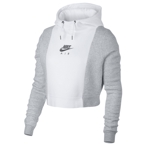 nike rally metallic air crop hoodie women 39 s casual clothing white birch heather white. Black Bedroom Furniture Sets. Home Design Ideas