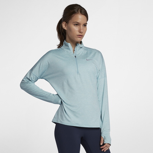 Nike Dri-FIT Element 1/2 Zip - Women's Running - Ocean Bliss/Heather 55517452