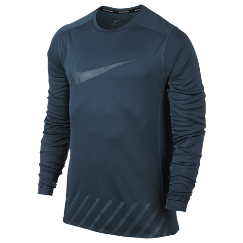 Nike Dri-FIT Miler Graphic Long Sleeve T-Shirt - Men's Running - Space Blue 56878425