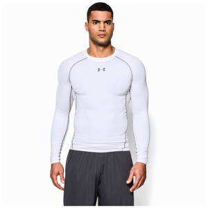 Under Armour HeatGear Armour Comp L/S T-Shirt - Men's - White/Graphite