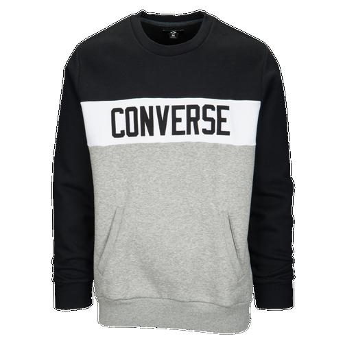 Converse Colorblock Crew - Men's - Casual - Clothing - Black/Heather Grey