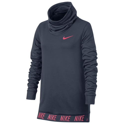 nike lightweight studio pull over hoodie girls 39 grade school casual clothing thunder. Black Bedroom Furniture Sets. Home Design Ideas
