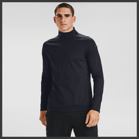 Under Armour Rush ColdGear Mock Neck - Men's - All Black / Black