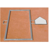Diamond Team Foldable Batter's Box Template - Silver / Silver