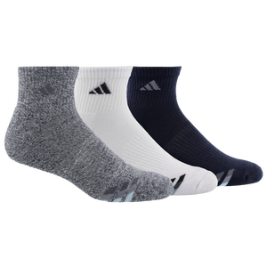 adidas 3-Stripe 3 Pack Quarter Socks - Men's - Ink Blue/White/Marl/Blue/Grey